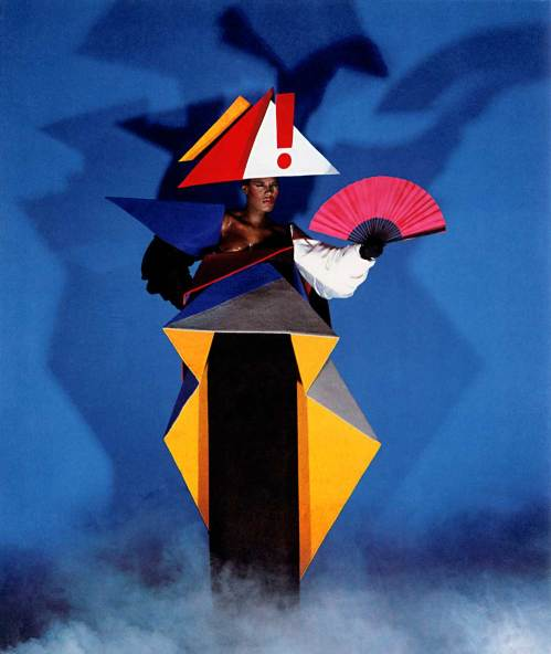 Maternity dress for Grace Jones by Jean-Paul Goude and Antonio Lopez