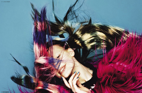 Pages 316-317 – Tie-Dye Hair. December 2009, Photography by Mark Pillai, styling by Katie Shillingford