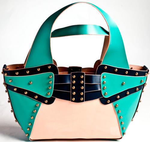 Handbag 6: 1 x Turquoise / Elephant / Nude Combi