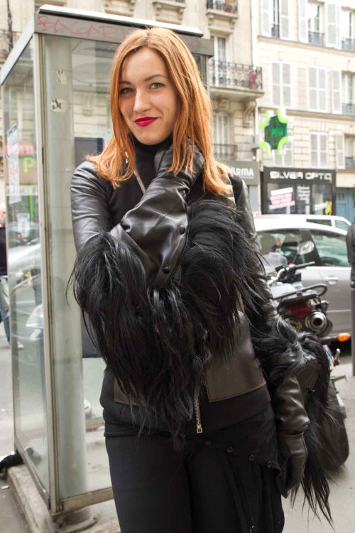 Maria wears Gloves: Ann Demeulemeester, Jacket: Rick Owens, Boots: Nicolás, Trousers: Stella