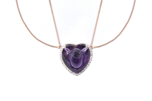 Swallow Heart – Hand Carved Amethyst With Diamonds