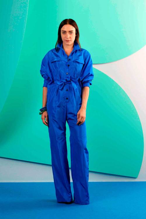 Their close friend Chloe Sevigny closed the show in a blue button-up jumpsuit.